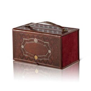 קופסא לאתרוג משוחזר עתיק PU חום בהיר